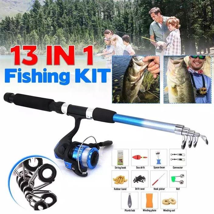 13 In 1 Telescopic Fishing Rod + Spinning Reel