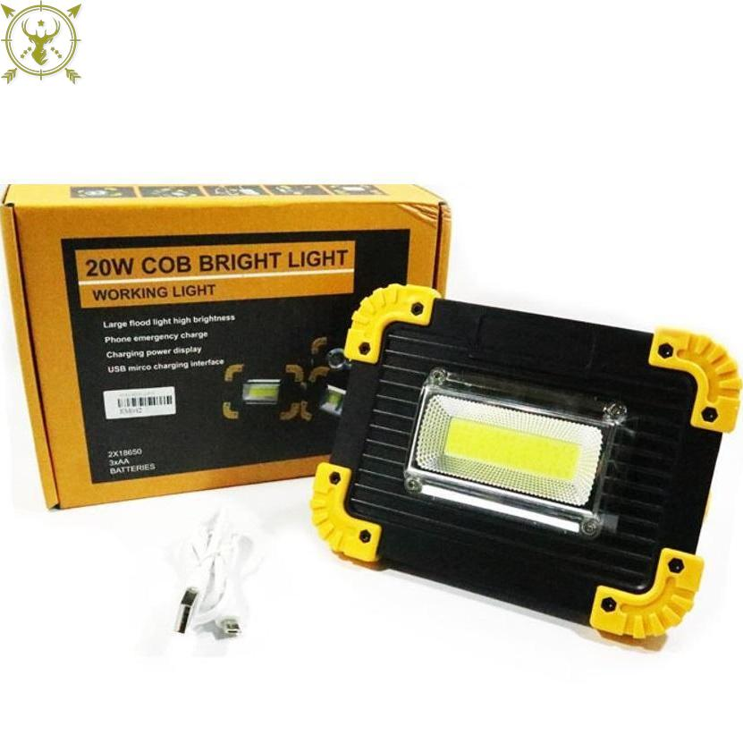 20W COB LED Rechargeable Work Light Portable Lamp Travel Floodlight